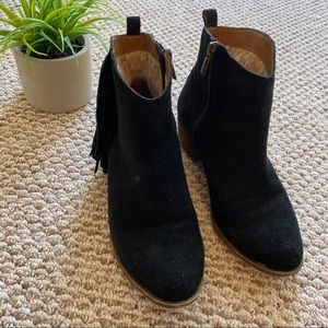 Lucky Brand Black Fringe Booties